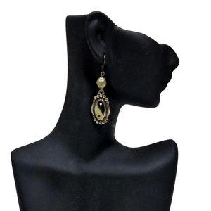 Yin Yang Cloisonne Earrings Black Ivory Wire